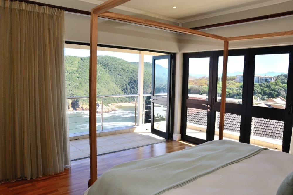 Sea House, Knysna group accommodation; Great views from the Master Bedroom Suite