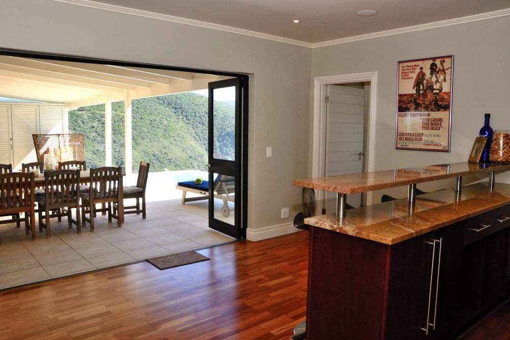 Sea House, Knysna group accommodation; The generous bar - open to the pool and outside braai patio