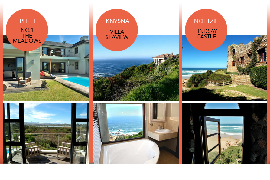 where to stay in Plett Knysna and Noetzie attractions and sightseeing self-catering accommodation luxury holiday