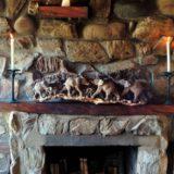 Lindsay Castle, rustic stone fire place