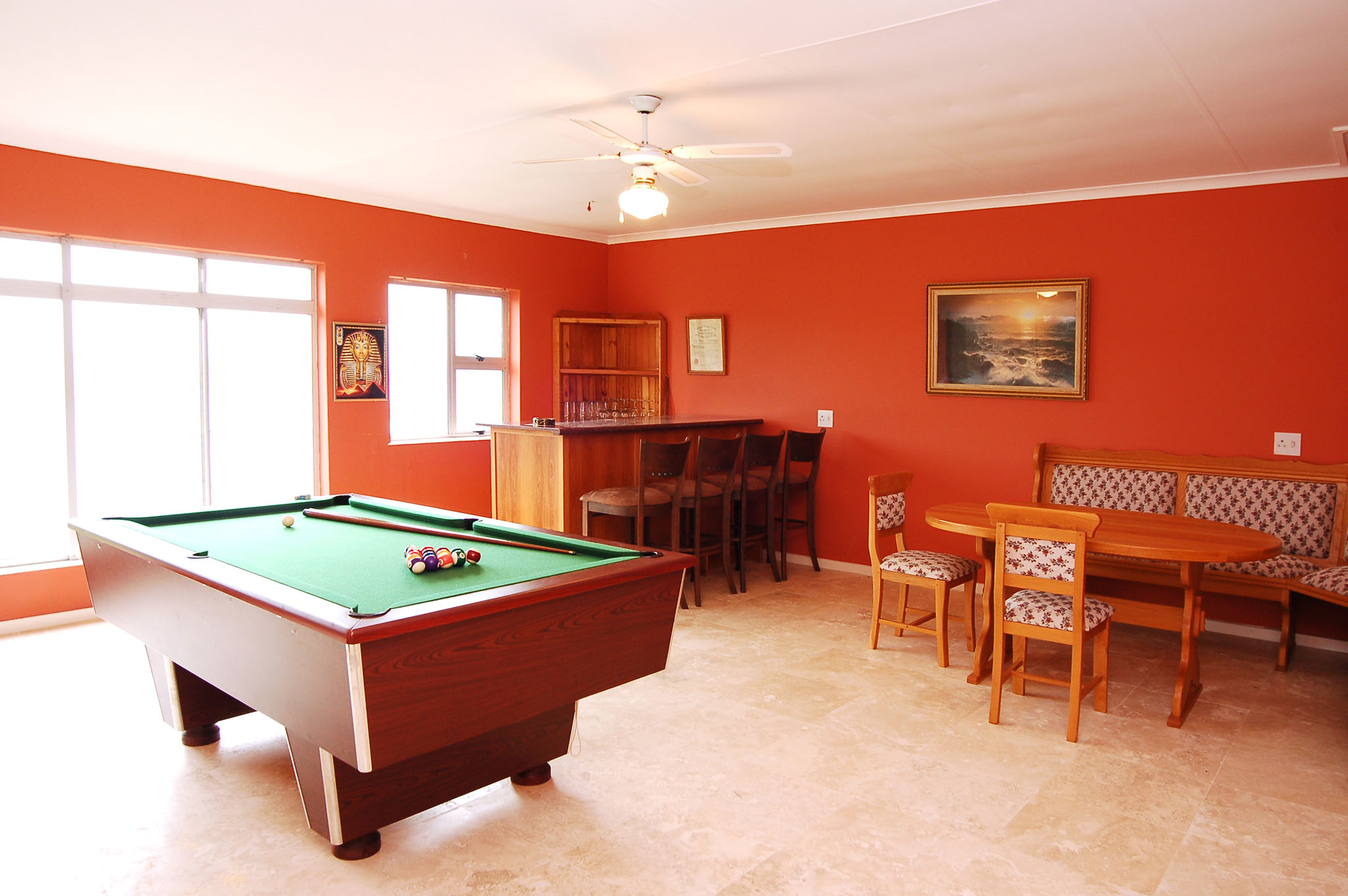 Eagle House, Knysna Heads Accommodation; The bar / games room - a great space for everyone