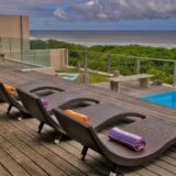 Home by the Sea, Keurboomstrand, Seaside Accommodation, sun loungers at the pool