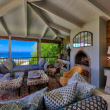 Lookout House, Luxury Plettenberg Bay Accommodation, outside lounge fireplace area