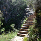 Lindsay Castle, Noetzie Accommodation, Steps leading down to the castle from parking area